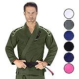 Elite Sports IBJJF Ultra Light Brazilian Jiu Jitsu BJJ Gi W/Preshrunk Fabric & Free Belt (Green, A2)
