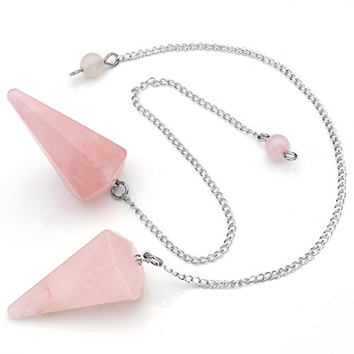 Top Plaza 3pcs Natural Amethyst Rose Quartz Crystal Multifaceted Dowsing Divination Reiki Pendulums