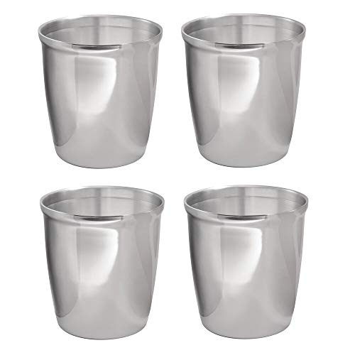Wastebasket Tall Steel Round - mDesign Small Round Metal Trash Can Wastebasket, Garbage Container Bin for Bathrooms, Powder Rooms, Kitchens, Home Offices - 4 Pack - Polished Stainless Steel