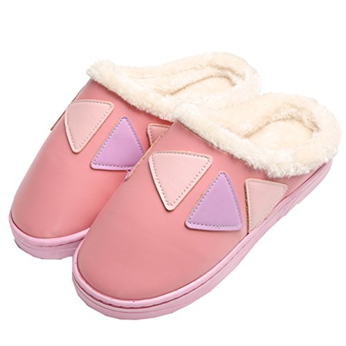 Blubi Womens Plush Patchwork Comfy Slippers Indoor Slippers Pink ZfPhCM3rO