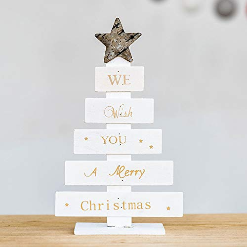 ChenwayMerry Christmas Fashion Artificial Christmas Wooden Mini Tree Desktop Ornaments Party,Club,Children's Gift,Home,Table Top Creative Decoration (White)