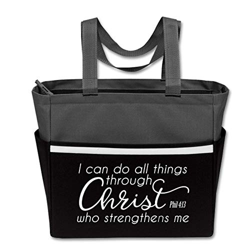 Cute, Religious Zippered Tote Bag for Women - I Can Do All Things Through Christ - Gray/Black Christian Church Gifts (Through Christ Gray/Black) -