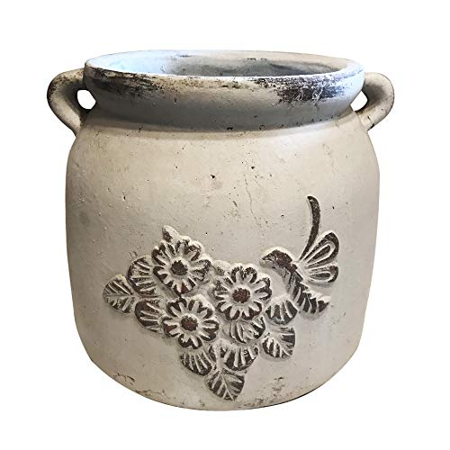(Heavy Hand Pressed Ancient Stressed Round Flower Pot or Planter with Loop Handles 2 colors available, Vintage)