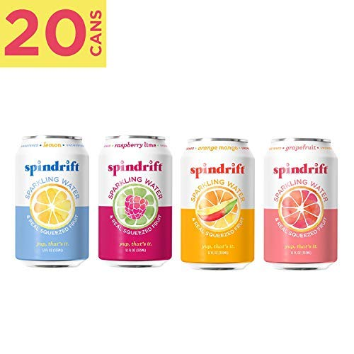 Spindrift Sparkling Water, 4 Flavor Variety Pack, Made with Real Squeezed Fruit, 12 Fluid Ounce Cans, Pack of 20 Seltzer Water Cans (Rain Organic Vodka)