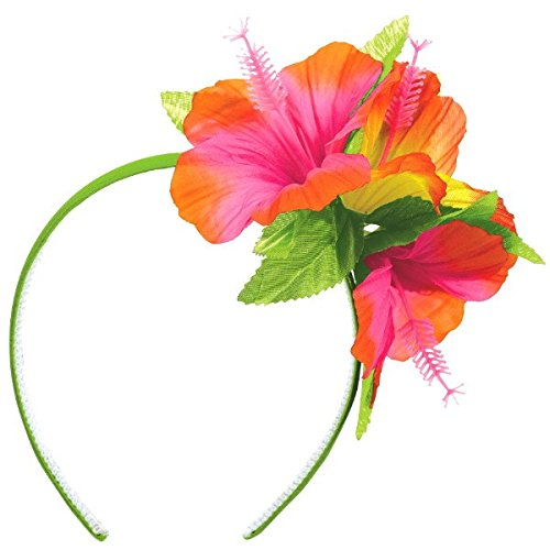 Amscan Tropical Hibiscus Flower Summer Headband Hawaiian Beach Luau Costume Dress Up Party Headwear Accessory, Plastic, 10