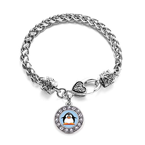 (Inspired Silver - Penguin Braided Bracelet for Women - Silver Circle Charm Bracelet with Cubic Zirconia)