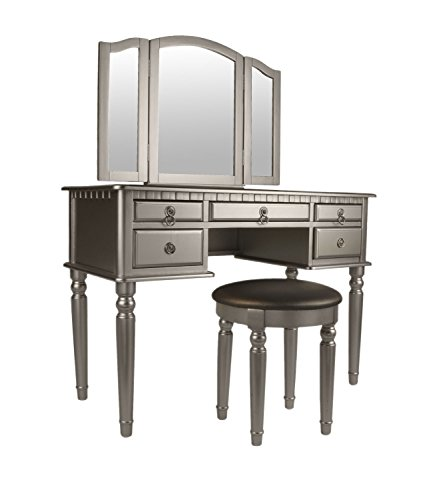 Groovy Bobkona F4079 St Croix Collection Vanity Set With Stool Silver Machost Co Dining Chair Design Ideas Machostcouk