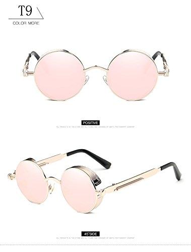 tamaño metal hombres T9 de Vintage marco de ATNKE góticas Steampunk de reflectante HD mujeres UV400 con gafas gafas sol lente redondas retro protección de gran para p8w8A7qa