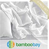 100% Viscose from Bamboo Sheets | Soft, Cool and Durable 6-Piece Bamboo Sheet Set - Extra Deep Pocket, No Slip Fitted Sheet | Certified Hypoallergenic, Sustainable and Eco-Friendly (Queen, Ivory)