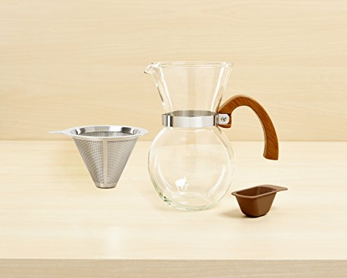 Hic Pour Over Coffee Maker : HIC Pour-Over Coffee Maker Borosilicate Glass with Bamboo Handle Stainless Steel Filter, 22 oz ...