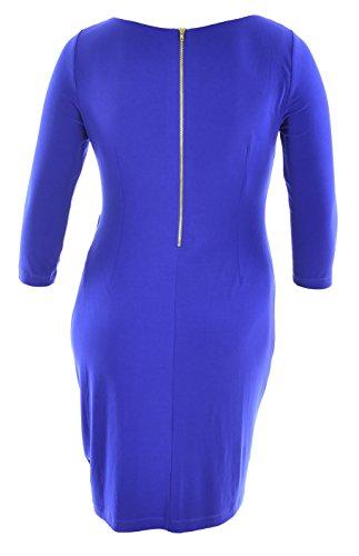 Women's 3/4 Sleeve Matte Jersey Hardware Detail Sheath Dress, Size 12