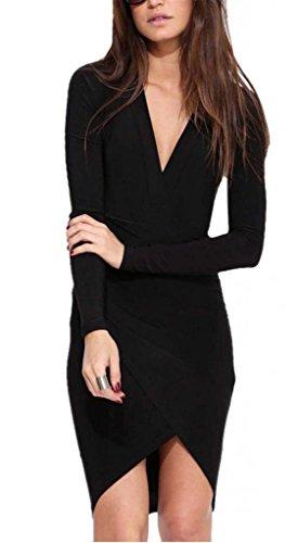 Shein Women's Black Deep V Neck Long Sleeve Asymmetric Dress(M,Black)