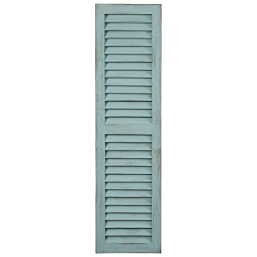 Stone & Beam Modern Rustic Wood Farmhouse Window Shutter Wall Art Home Decor - 13 x 48 Inches, Tiffany Blue