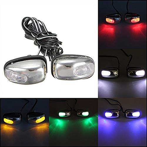 Carvicto - 2015 New 2x Chrome Blue LED Light Lamp Windshield Jet Spray Nozzle Wiper Washer Eyes