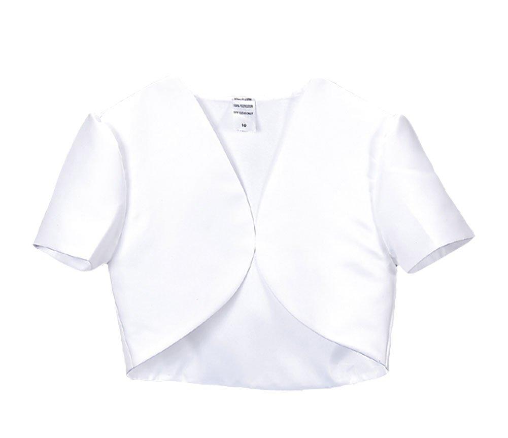 Girl's White Short Sleeve Satin Bolero Jacket - Size 18X by Swea Pea & Lilli