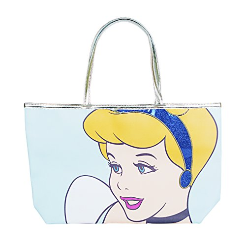 Disney Cinderella Princess Blue Glitter Tote Handbag for Women ()