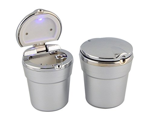 Q-shine Portable Stainless Auto Car Cigarette Ashtray Ash with Blue LED Light Smokeless Stand Cylinder Cup Holder (Silver)