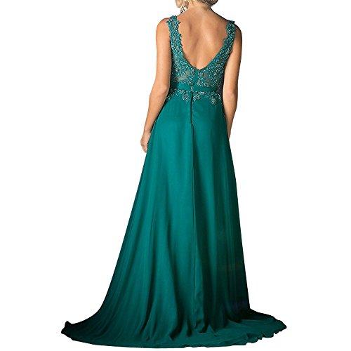 Linie Festlichkleider mia Spitze Brau Dunkel Langes Rock Pailletten A La Blau Ausschnitt Ballkleider Abendkleider V Chiffon Brautmutterkleider OfqBHpvw