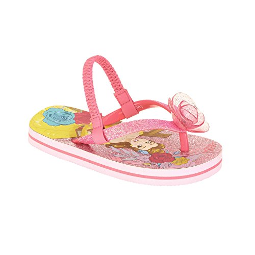 Princess Belle Toddler Girl Sandals Flip Flop Pink Glitter Shoes (7/8) ()