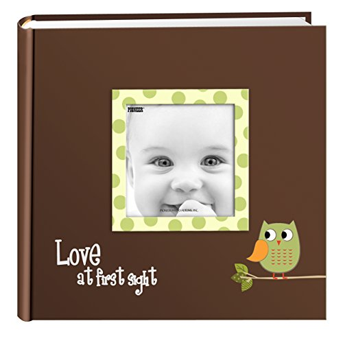 Pioneer Photo Albums EV-246FB/OG 200-Pocket Baby Owl Printed Designer Frame Cover Photo Album, Green