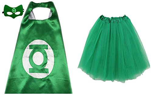 Superhero TUTU, CAPE, & MASK - Adult Teen Size Womens Complete Halloween Costume (Regular Size Adult Tutu, Green Lantern - Silver & (Green Lantern Womens Costume)