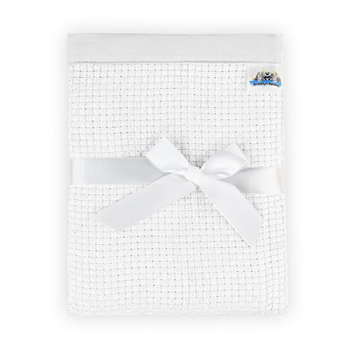 Infants Knit Blanket - Brooklyn Bamboo | Knit Baby Blanket | Unique Extra Soft Breathable Blanket For Infants | Perfect For Cribs, Strollers, Car Seats | For Infants And Toddlers | Large 47''x 40'' | White
