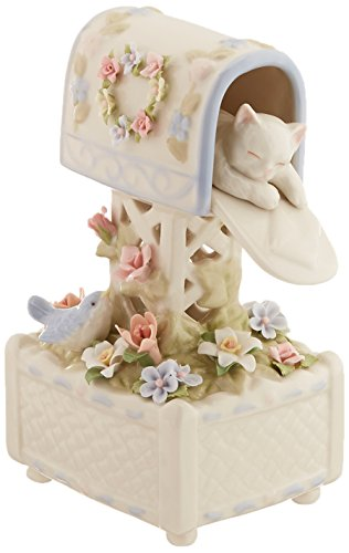(Cosmos SA49117 Fine Porcelain Kitten in Mailbox Musical Figurine, 7-Inch )