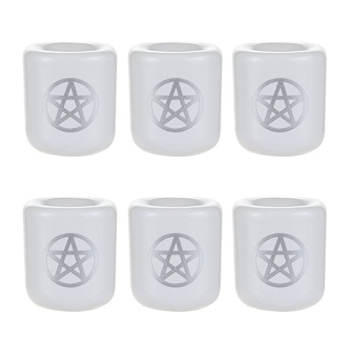 Mega Candles - 6 pcs Ceramic Silver Pentacle Chime Ritual Spell Candle Holder - White ()