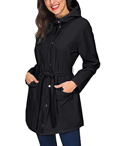 ZHENWEI Women's Raincoat Waterproof Lightweight Nylon Lined Rain Jacket for Outdoor Vocation (Black,XL)