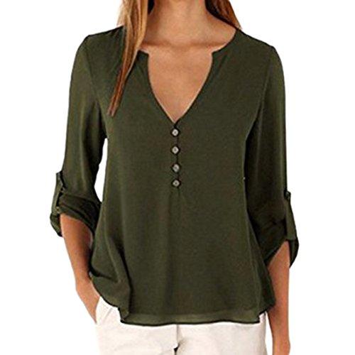 T Tops shirt Soie de Vert Mousseline V Manches Longues Shinekoo en Amy Sexy Femme Col XFw7Iq