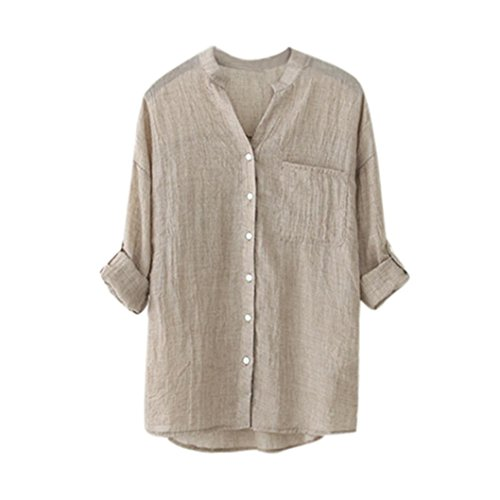 Women Long Sleeve T Shirt,Napoo Cotton Linen Loose Stand Collar Blouse Solid Casual Button Down Tops (M, Khaki)