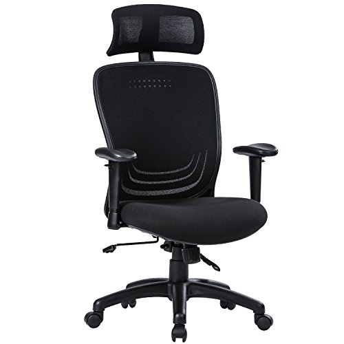 High Back Office Chair-LONGEM Ergonomic Computer Desk Executive Chair with Adjustable Headrest and Armrests, 90°-120°Tilting Lock, Lumbar Support, Black
