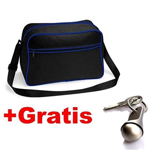 Black Gratis con negro ribetes noTrash2003 70 Schlüsselanhänger nailon de bandolera mit Royal Bolsa años negro los diseño 7x4xfZ