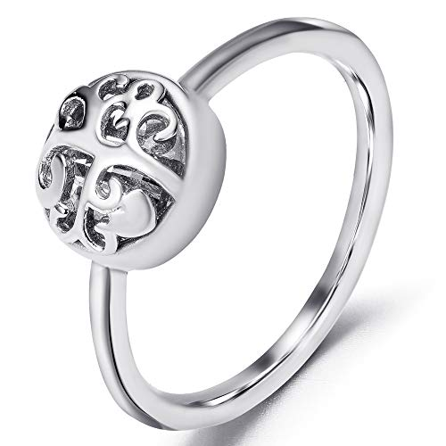 Jude Jewelers Stainless Steel Tree of Life Heart Shaped Cocktail Party Statement Ring (Silver & Clear, 9)