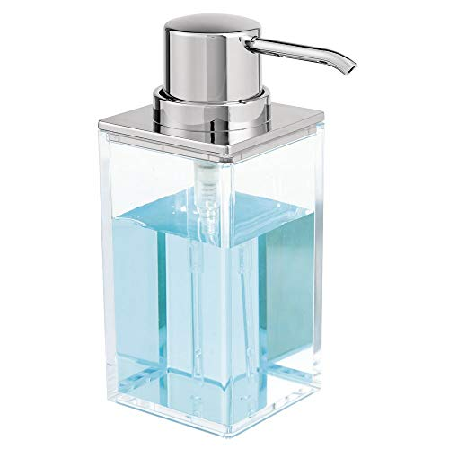 mDesign Modern Square Plastic Refillable Liquid Soap Dispenser Pump Bottle for Bathroom Vanity Countertop, Kitchen Sink - Holds Hand Soap, Dish Soap, Hand Sanitizer, Essential Oils - Clear/Chrome