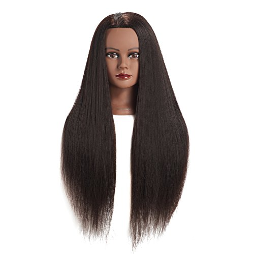 """Search : Hairginkgo 26""""-28"""" Super Long Cosmetology Mannequin Manikin Synthetic Fiber Training Head Doll Head with Clamp (Black-1)"""