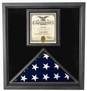 product image for Flag and Certificate Case Black Frame, American Made Designed to Make That Certificate Feature as prominently as The Flag