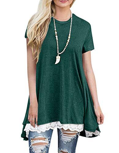 - Sanifer Women Lace Short Sleeve Tunic Top Blouse (Large, Green)