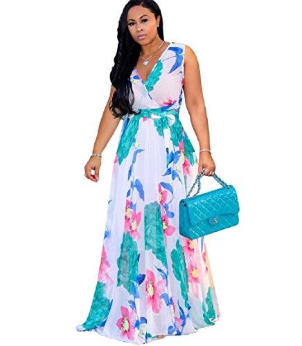 Dora's Womens Chiffon V-Neck Printed Floral Maxi Dress Sleeveless Dresses High Waisted Belt Plus Size Yellow