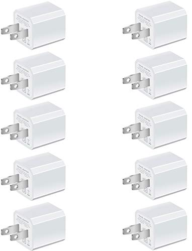Boost USB Chargers 5W Power Adapter [10-Pack] Wall Charger 1A Cube for Outlet Plug Compatible for iPhone Xs Max 8 / X / 7 / 6S / Plus +, Samsung Galaxy, Motorola, HTC, Other Smartphones - White