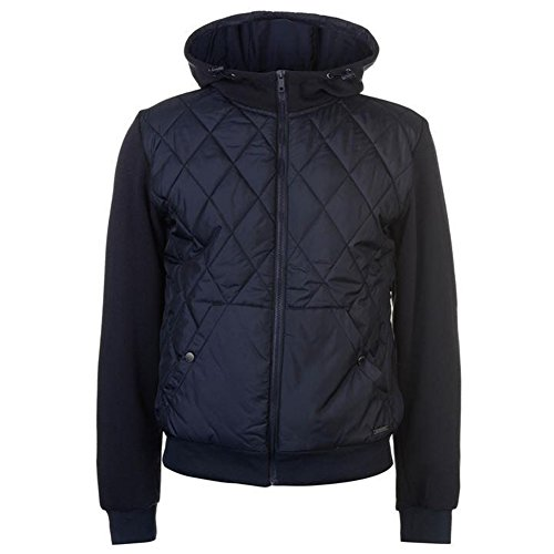 Pierre Cardin Mens Lightweight Quilted Hooded Jacket with Fleeced Lining and Fleece Back and Sleeves (Small, Navy)