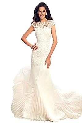 Sisjuly Women's Cap Sleeve Chiffon Beach Mermaid Long Wedding Dress