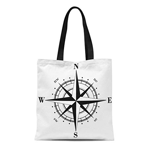 Semtomn Cotton Canvas Tote Bag North Black Compass Rose South Symbol West East Star Reusable Shoulder Grocery Shopping Bags Handbag Printed