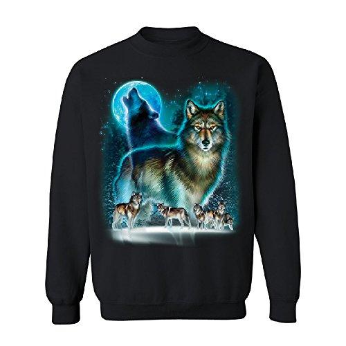 Full Moon Wolf Native Spirit Unisex Crewneck Fashion Quality Sweater Black ()
