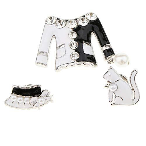 3pcs Fashion Vintage Dress Suit Brooch Pin Set for Women Shirts Collars Hats   Color - Silver