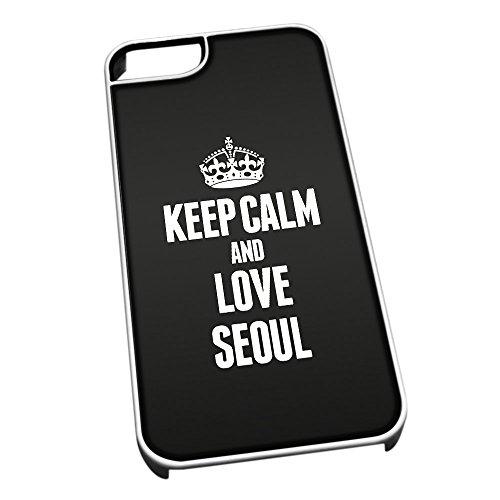 Bianco cover per iPhone 5/5S 2368nero Keep Calm and Love Seoul