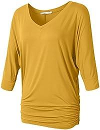 Womens V Neck 3/4 Dolman Sleeve Side Shirring Drape Top