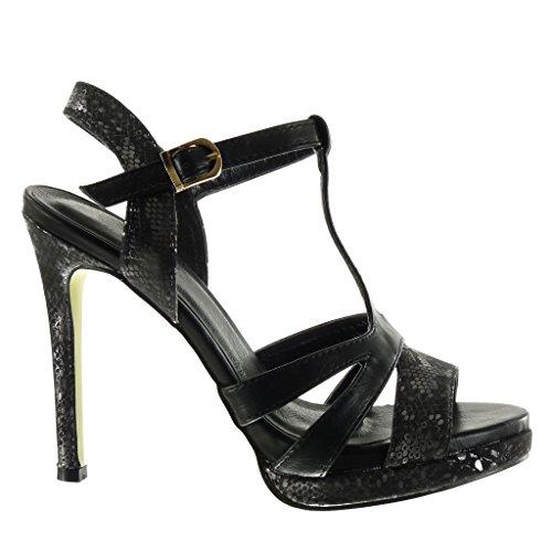 Angkorly - Scarpe da Moda sandali scarpe decollete zeppe sexy donna pelle di serpente multi-briglia Tacco Stiletto tacco alto 12 CM - Nero