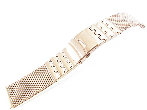 26mm Stainless Steel Mesh Bracelet Watch Band 1226WWSL Silver Black 1N14 Gold Rose gold Titanium (Rose Gold) (Black Titanium Mesh Band)