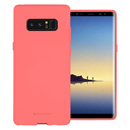 Free Screen Protector, Galaxy Note 8 Case [Silky] GOOSPERY Soft Feeling Marlang Jelly [Slim Fit] Flexible TPU Cover for Samsung Galaxy Note8 - Pink, NT8-SFJEL/SP-PNK - Jelly Cover